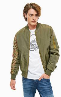 Демисезонная куртка бомбер цвета хаки Jack & Jones