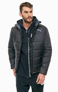 Черная куртка с логотипом бренда и карманами Puma