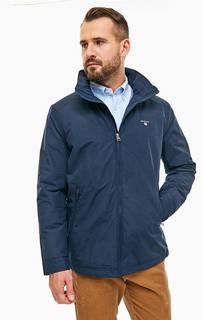Синяя хлопковая куртка со скрытым капюшоном Gant
