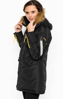 Удлиненная черная куртка с капюшоном Alpha Industries