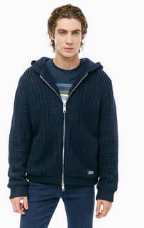 Вязаная куртка синего цвета на молнии Armani Exchange