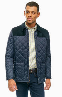 Синяя стеганая куртка с застежкой на кнопки Barbour