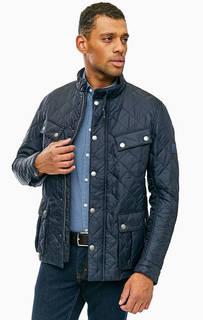 Синяя стеганая куртка с застежкой на молнию и кнопки Barbour