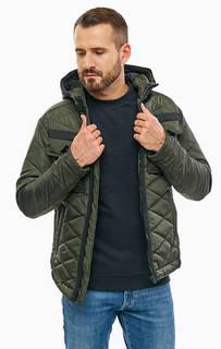 Куртка цвета хаки с контрастными вставками Jack & Jones