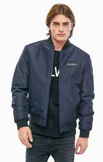Синяя демисезонная куртка-бомбер Calvin Klein Jeans