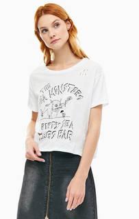 Укороченная футболка с рваными деталями One Teaspoon