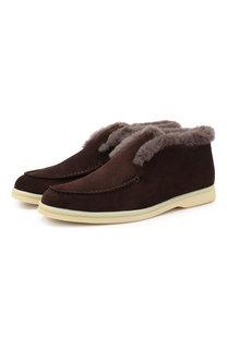 Замшевые ботинки Open Walk с внутренней отделкой из меха нутрии Loro Piana