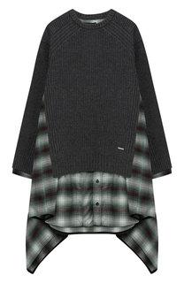Комбинированное платье асимметричного кроя Dsquared2
