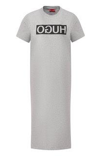 Хлопковое платье с логотипом бренда BOSS