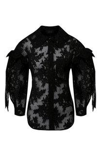 Полупрозрачная кружевная блуза с объемными рукавами Simone Rocha
