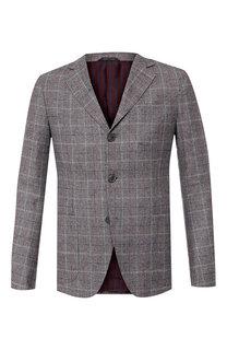 Однобортный пиджак из смеси шерсти и кашемира с шелком Giorgio Armani