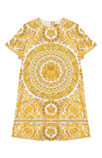 Хлопковое мини-платье с принтом Young Versace