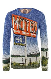 Пуловер из смеси шерсти и шелка с вышитым принтом No. 21