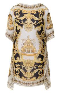 Шелковая туника с принтом Versace