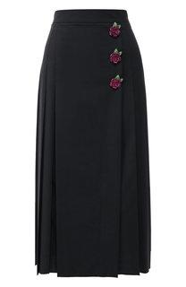 Шерстяная юбка-миди со складками и декоративной отделкой Dolce & Gabbana
