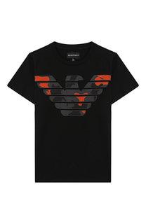 Хлопковая футболка с аппликацией Emporio Armani