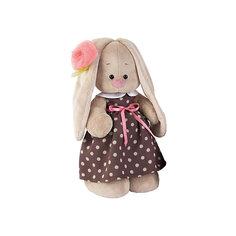 Мягкая игрушка Budi Basa Зайка Ми в кофейном платье и цветком на ушке, 32 см