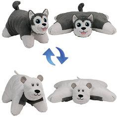 """Подушка-Вывернушка 2в1 1toy """"Хаски-Полярный Медведь"""""""
