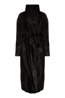 Черное пальто со съемным поясом MAX Mara