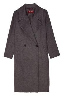 Серое двубортное пальто MAX Mara