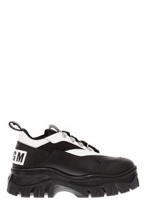 Черно-белые ботинки на шнуровке Msgm