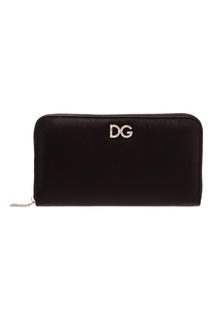 Черный сафьяновый кошелек Dolce & Gabbana