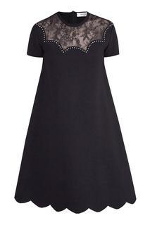 Черное платье с кружевной вставкой Valentino