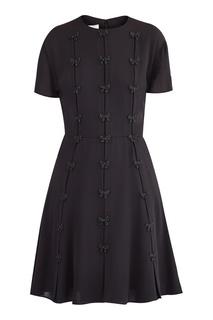 Черное шелковое платье мини Valentino