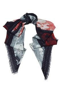 Широкий шарф с принтом Alexander Mc Queen