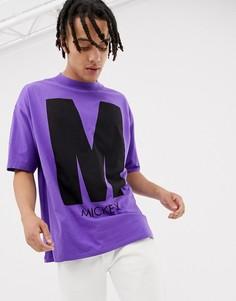 Фиолетовая oversize-футболка с принтом на груди и спине Bershka Mickey Mouse - Фиолетовый