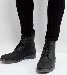 Черные кожаные ботинки на шнуровке с ребристой подошвой ASOS - Черный