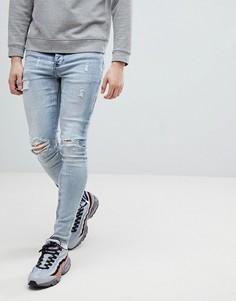 Светлые джинсы скинни с рваной отделкой Sixth June - Синий