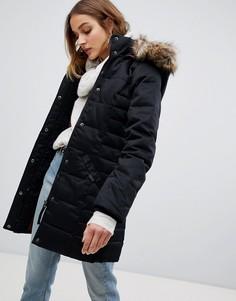 Дутое пальто длиной 3/4 с отделкой из искусственного меха Vero Moda - Черный