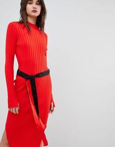 Трикотажное платье в рубчик с поясом Hugo - Оранжевый