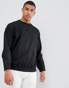 Черный свитшот с круглым вырезом и заниженной линией плеч Emporio Armani - Черный