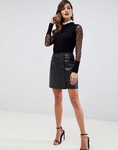 Черная мини-юбка из полиуретана с пуговицами Morgan - Черный