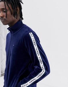 Темно-синяя спортивная велюровая куртка с логотипом на рукаве Tommy Jeans - Темно-синий