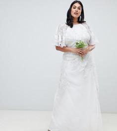 Свадебное платье с цветочной аппликацией ASOS EDITION Curve - Кремовый