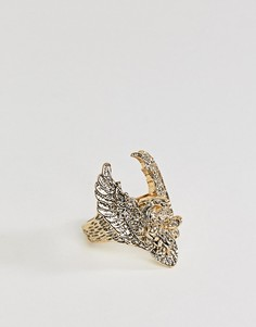 Крупное кольцо с ястребом Sacred Hawk - Золотой