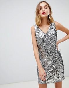 Платье с V-образным вырезом и пайетками Pieces - Серебряный