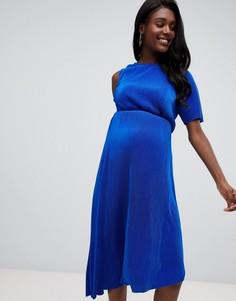 Плиссированное платье миди на одно плечо ASOS DESIGN Maternity - Синий