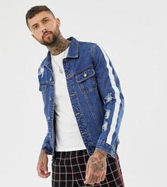 Обтягивающая джинсовая куртка с состаренной отделкой и полосками Mauvais - Синий
