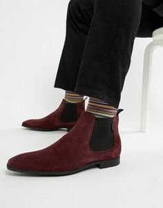 Бордовые замшевые низкие ботинки челси PS Paul Smith Falconer - Красный