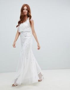 Декорированное свадебное платье 2 в 1 цвета слоновой кости Amelia Rose - Белый