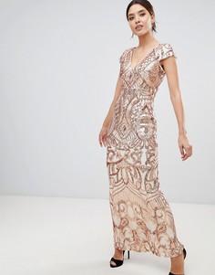 Платье макси с короткими рукавами и декоративной отделкой Bariano - Золотой