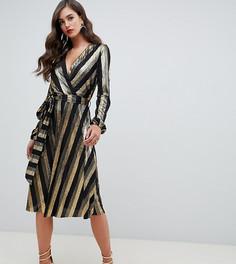 Платье миди в полоску металлик с запахом Flounce London Tall - Мульти