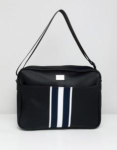 Черная сумка почтальона с тканой лентой в полоску Peter Werth - Черный