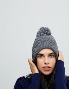 Серая шапка с помпоном из искусственного меха Vincent Pradier - Серый