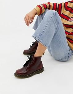 Красные высокие ботинки из искусственной кожи Dr Martens1460 - Серебряный
