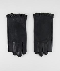Кожаные перчатки с оборками ASOS DESIGN - Черный